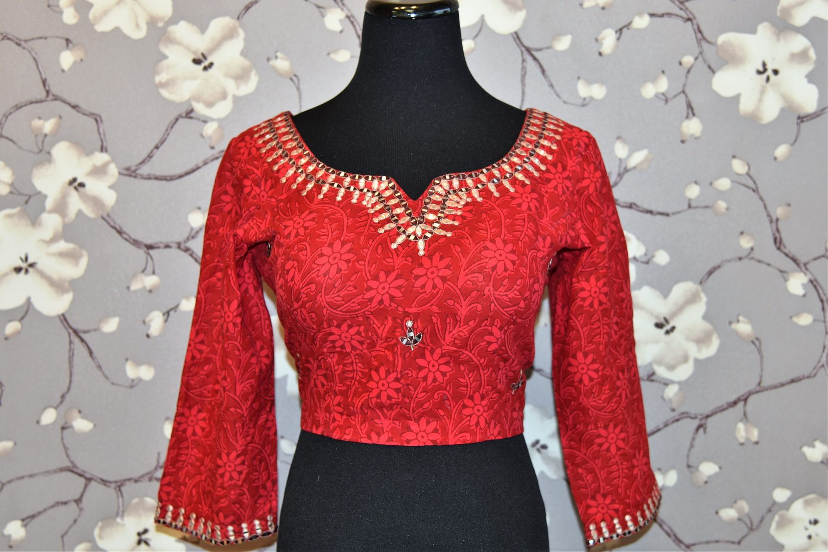 Buy red block print and embroidered saree blouse online in USA. Enhance your traditional saree look with a splendid range of designer saree blouses from Pure Elegance Indian fashion store in USA.-front