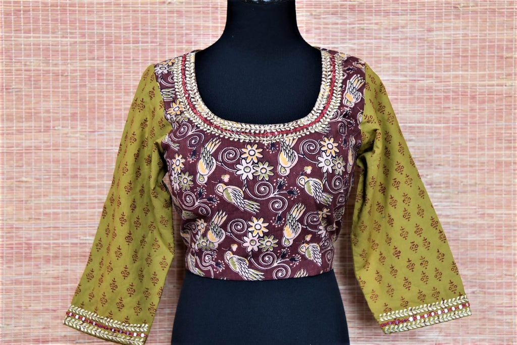 Buy maroon block print saree blouse online in USA with green sleeves. Buy readymade sari blouse in USA from Pure Elegance Indian fashion boutique in USA.-front