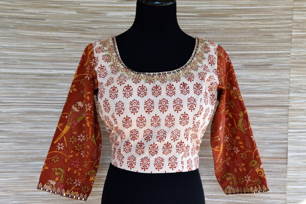 Buy cream block print embroidered saree blouse online in USA with brown sleeves. Go for a striking ethnic sari style with beautiful designer saree blouses from Pure Elegance Indian fashion store in USA.-front