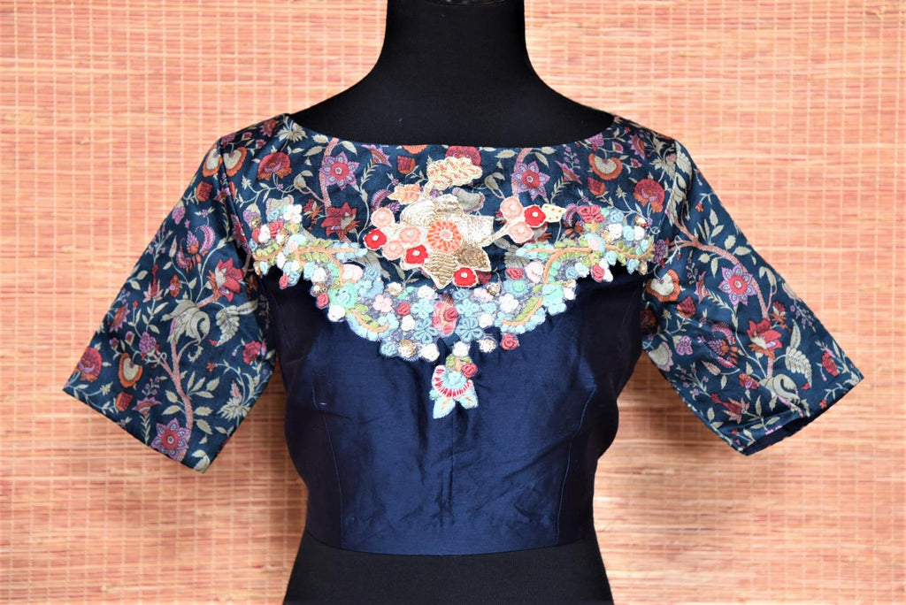 Buy gorgeous blue silk embroidered and printed designer saree blouse online in USA. Buy readymade sari blouse in USA from Pure Elegance Indian fashion boutique in USA.-front