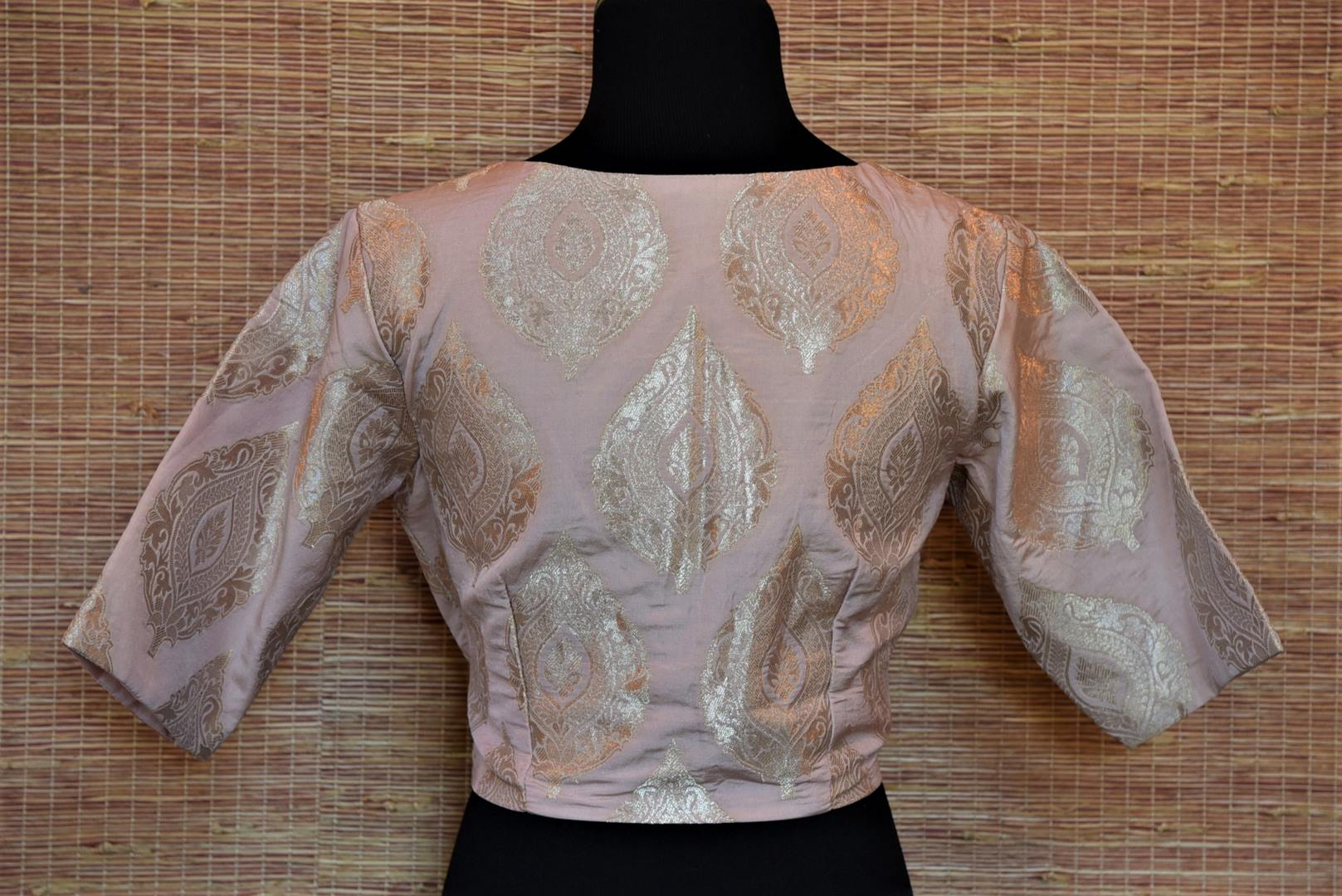 Shop alluring powder pink Banarasi silk readymade sari blouse online in USA. Highlight your beautiful sarees with gorgeous designer sarees blouses, readymade saree blouses from Pure Elegance Indian clothing store in USA.-back