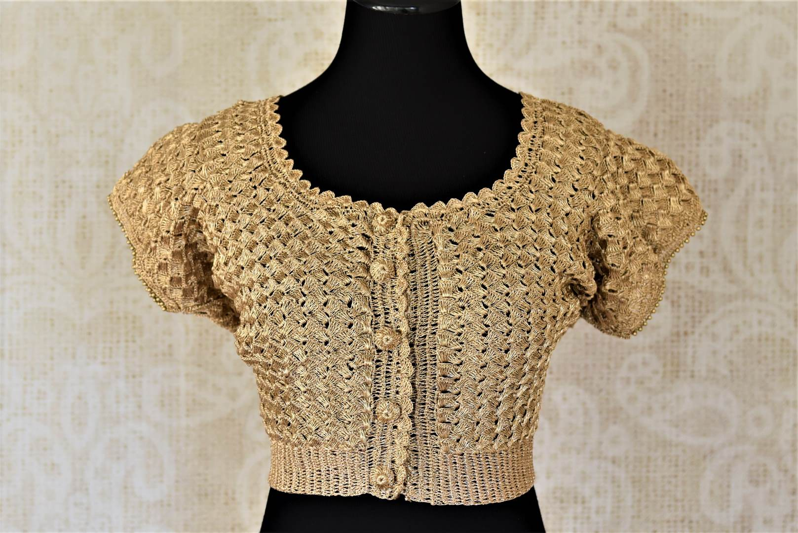 Shop golden crochet saree blouse online in USA. Shop such gorgeous readymade saree blouse in USA from Pure Elegance Indian clothes store in USA.-front