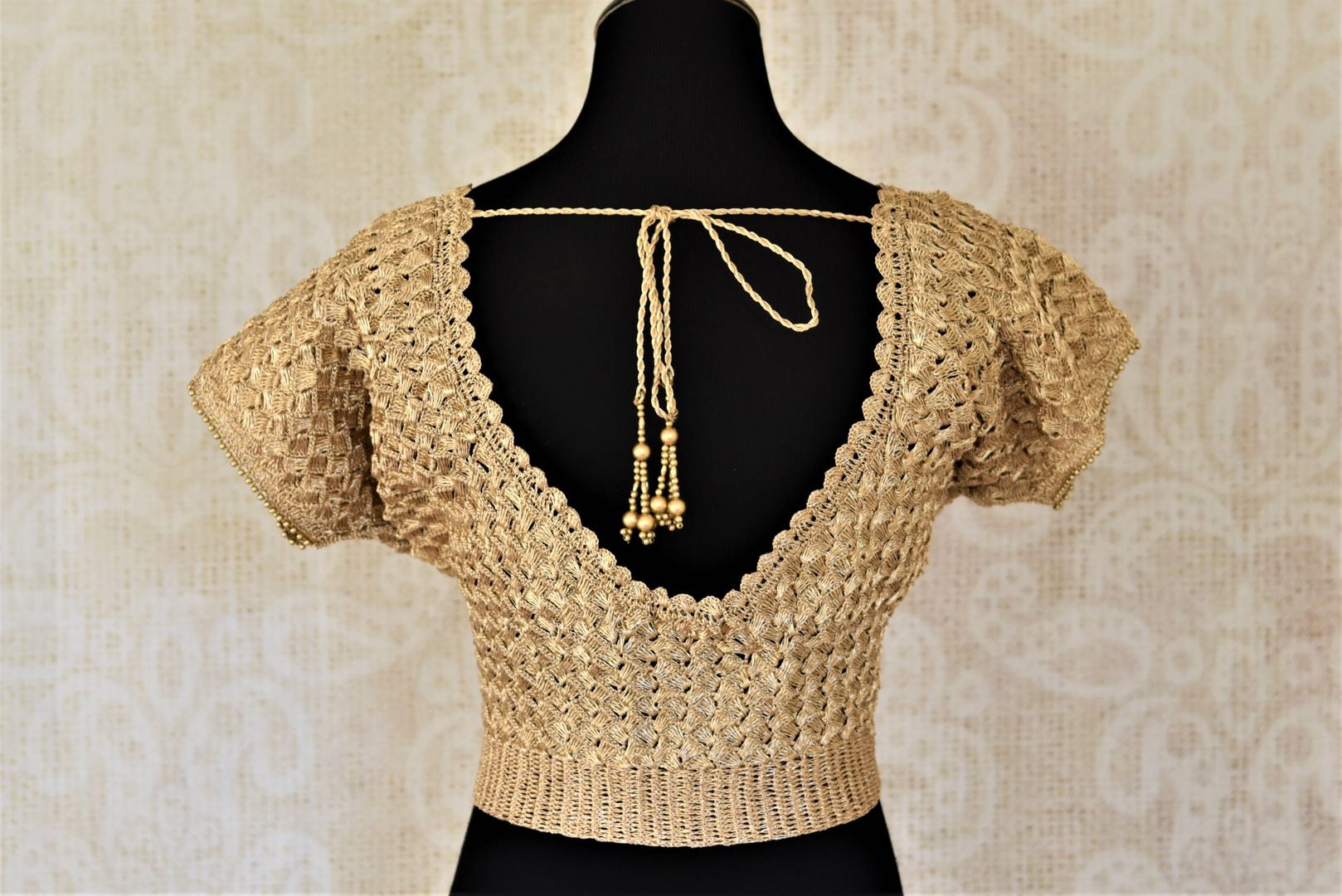 Shop golden crochet saree blouse online in USA. Shop such gorgeous readymade saree blouse in USA from Pure Elegance Indian clothes store in USA.-back