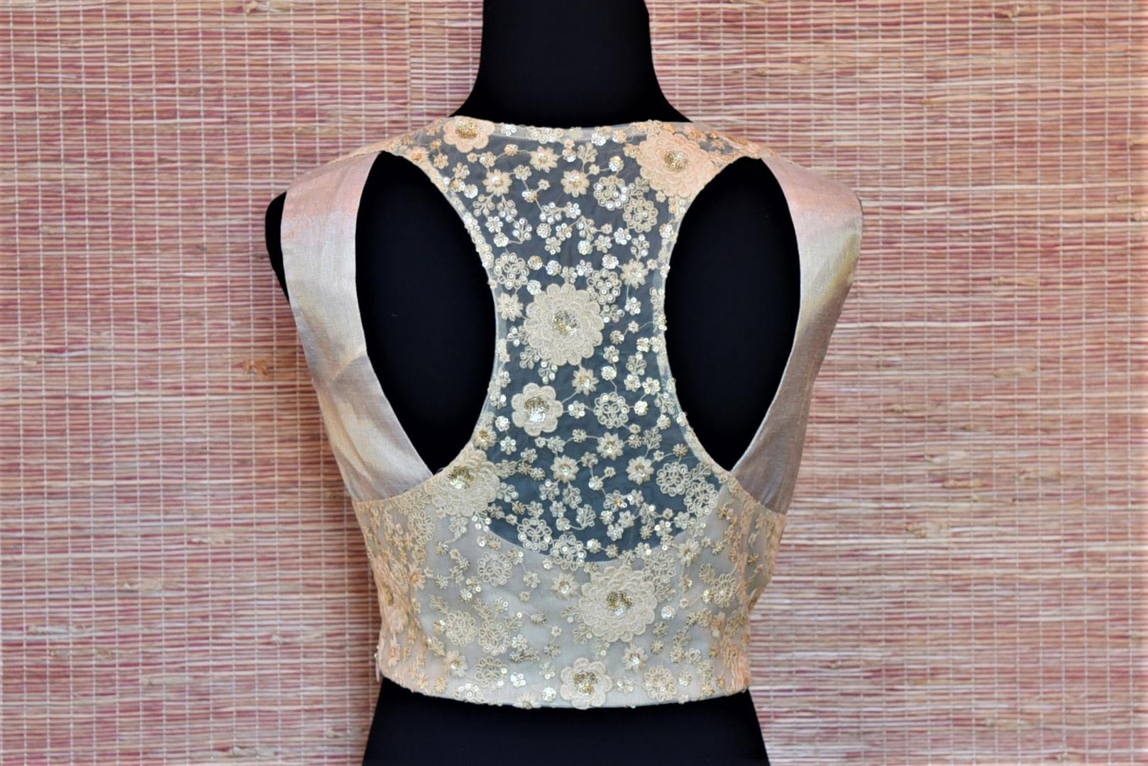Buy cream embroidered sheer tissue silk saree blouse online in USA. Look captivating in Indian sarees matched with exquisite readymade sari blouses from Pure Elegance Indian fashion boutique in USA.-back