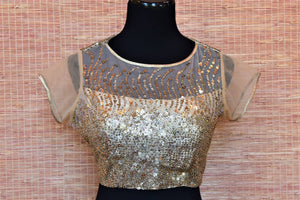 Buy beige sequin work net designer saree blouse online in USA. Highlight your beautiful sarees with gorgeous designer sarees blouses, readymade saree blouses from Pure Elegance Indian clothing store in USA.-front