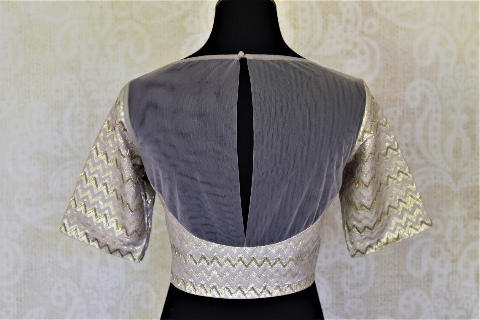 404102 Light Grey Hand Embroidered Silk Blouse with Sheer Back