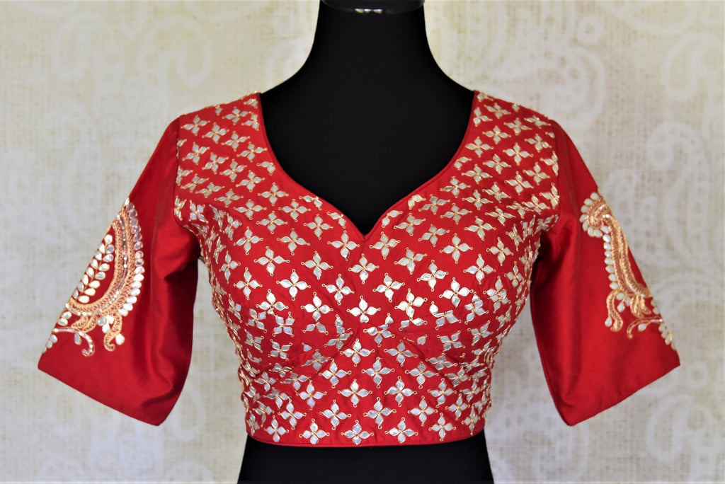 Buy beautiful red silk gota patti saree blouse online in USA. Elevate your handwoven sarees with this beautiful readymade saree blouses from Pure Elegance Indian clothing store in USA.-front