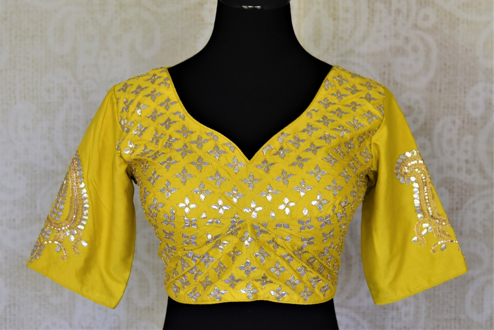 Shop bright yellow silk readymade gota patti saree blouse online in USA. Elevate your handwoven sarees with this beautiful readymade saree blouses from Pure Elegance Indian clothing store in USA.-front