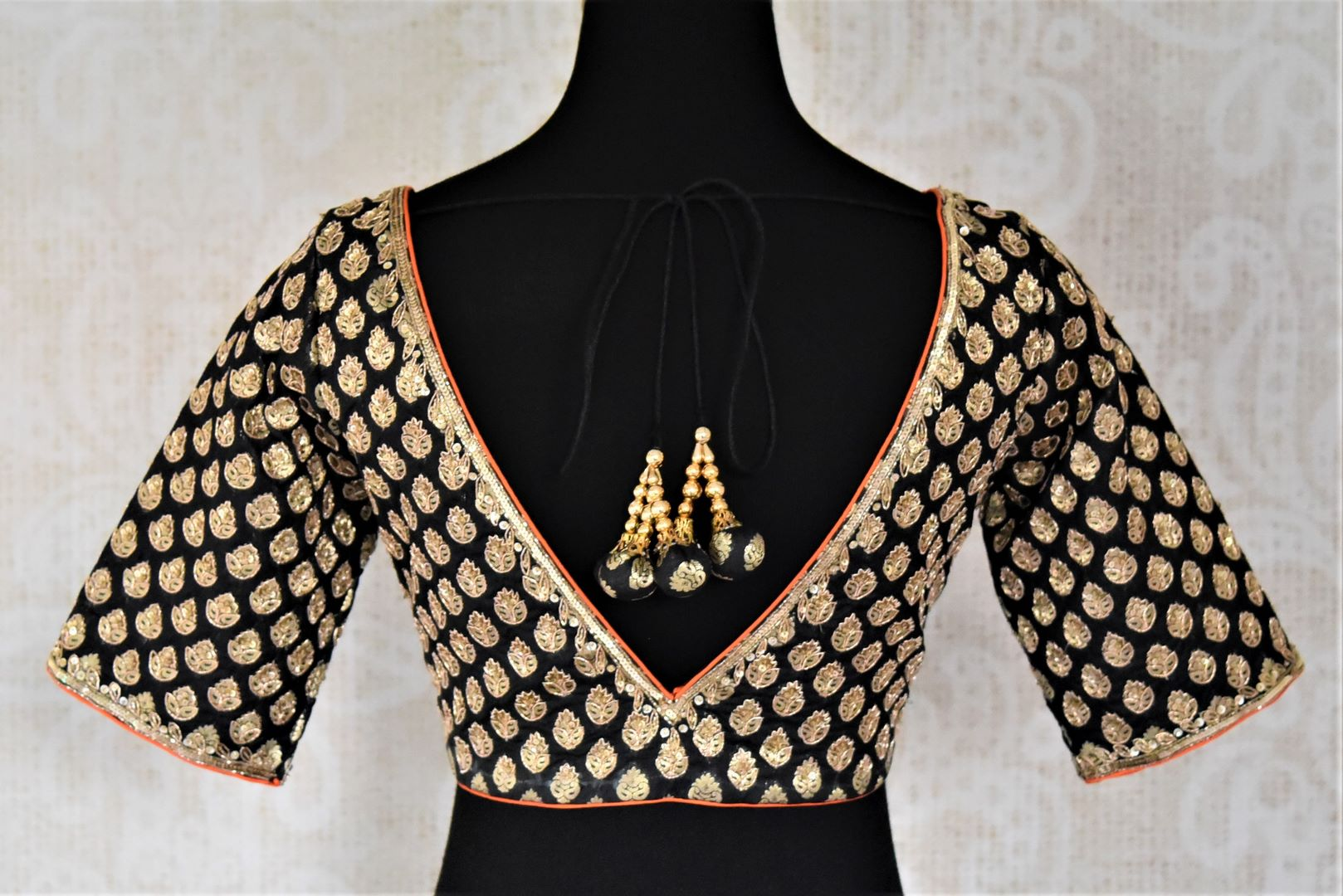 Shop black hand embroidered silk readymade sari blouse online in USA. Get spoiled for choices with a myriad of designer saree blouses, embroidered saree blouse from Pure Elegance Indian fashion store in USA.-back