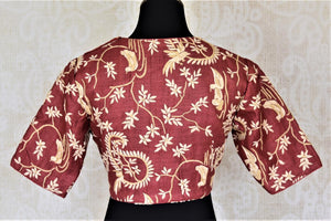Buy stunning maroon embroidered silk saree blouse online in USA. Enhance your sarees with beautiful embroidered saree blouse, designer sari blouse from Pure Elegance Indian fashion store in USA.-back