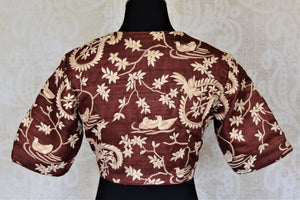 Buy brown embroidered silk readymade sari blouse online in USA. Enhance your sarees with beautiful embroidered saree blouse, designer sari blouse from Pure Elegance Indian fashion store in USA.-back