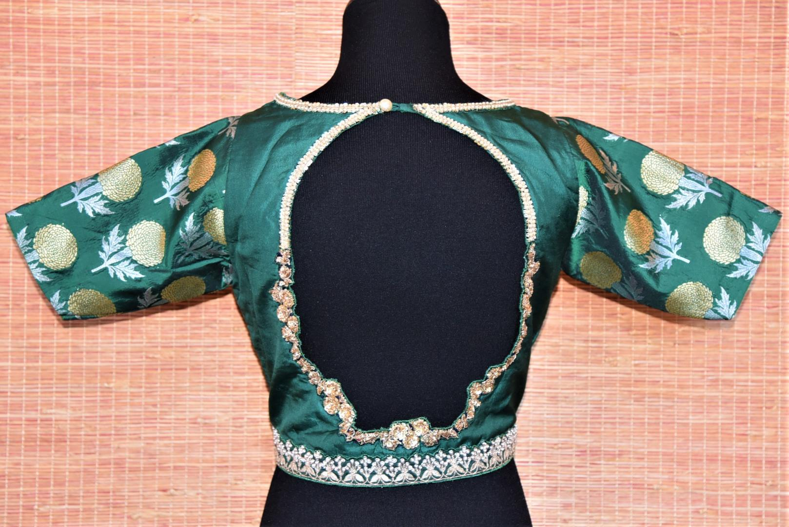 Shop beautiful teal embroidered Banarasi sari blouse online in USA with cutout back. Complete your Indian sarees with exquisite readymade saree blouse from Pure Elegance Indian clothing store in USA.-back