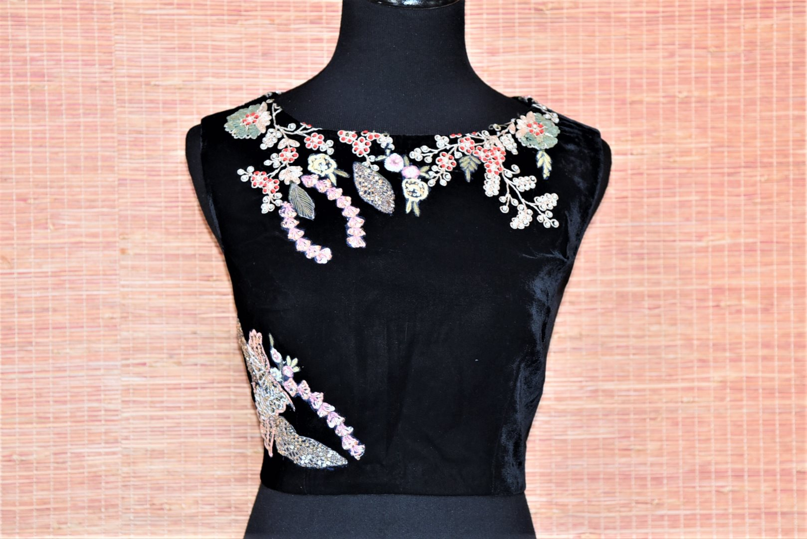 Shop ravishing black sleeveless embroidered velvet saree blouse online in USA. Complete your Indian sarees with exquisite readymade sari blouse from Pure Elegance Indian clothing store in USA.-full view