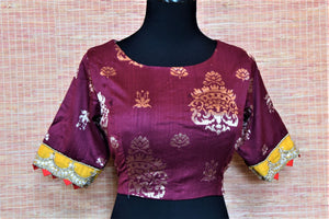 Shop beautiful purple readymade embroidered Banarasi saree blouse online in USA. Complete your Indian sarees with exquisite readymade sari blouse from Pure Elegance Indian clothing store in USA.-front