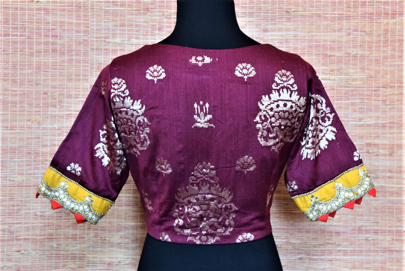 Shop beautiful purple readymade embroidered Banarasi saree blouse online in USA. Complete your Indian sarees with exquisite readymade sari blouse from Pure Elegance Indian clothing store in USA.-back