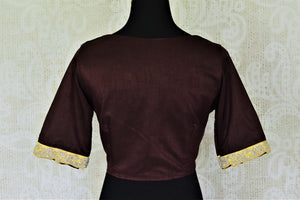 Buy beautiful coffee brown silk saree blouse online in USA with hand embroidered border. Complete your beautiful Indian saris with designer saree blouses ,readymade saree blouse, cotton blouses, silk sari blouses from Pure Elegance Indian saree store in USA.-back
