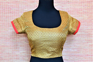 Buy beautiful golden embroidered Banarasi saree blouse online in USA. Complete your Indian sarees with exquisite readymade sari blouse from Pure Elegance Indian clothing store in USA.-front
