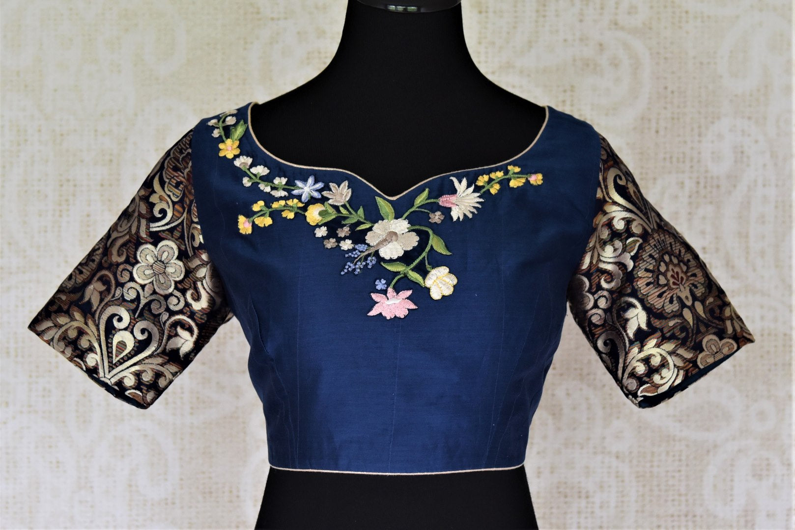 S M Traditional Cotton Top Long Sleeves Blue Floral Indian Blouse