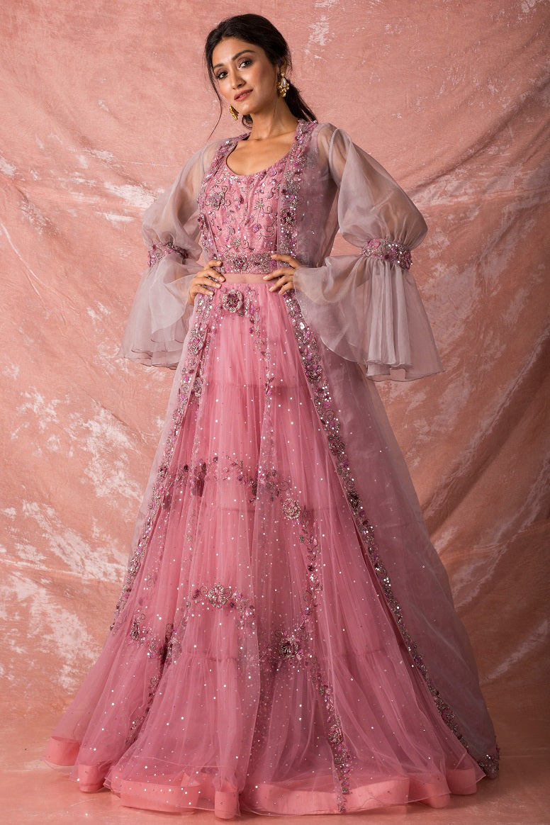 Pink Embroidered Satan Gown Online in USA-full view