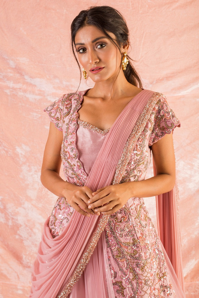 Pink Embroidered Silk Gown Online in USA-close up
