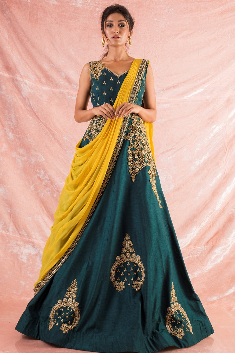 Green Embroidered Silk Gown Online in USA-full view