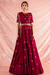 Wine Embroidered Silk Gown Online in USA-full view