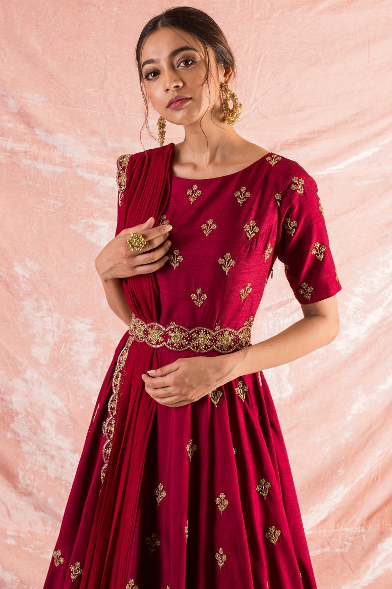 Wine Embroidered Silk Gown Online in USA-close up