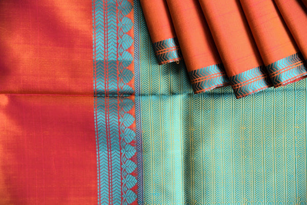 90C435 Yellow Kanchipuram Saree With Orange & Blue Border