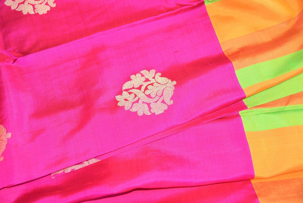 90C450 Rani Pink Kanchipuram Saree With Multi Colored Border