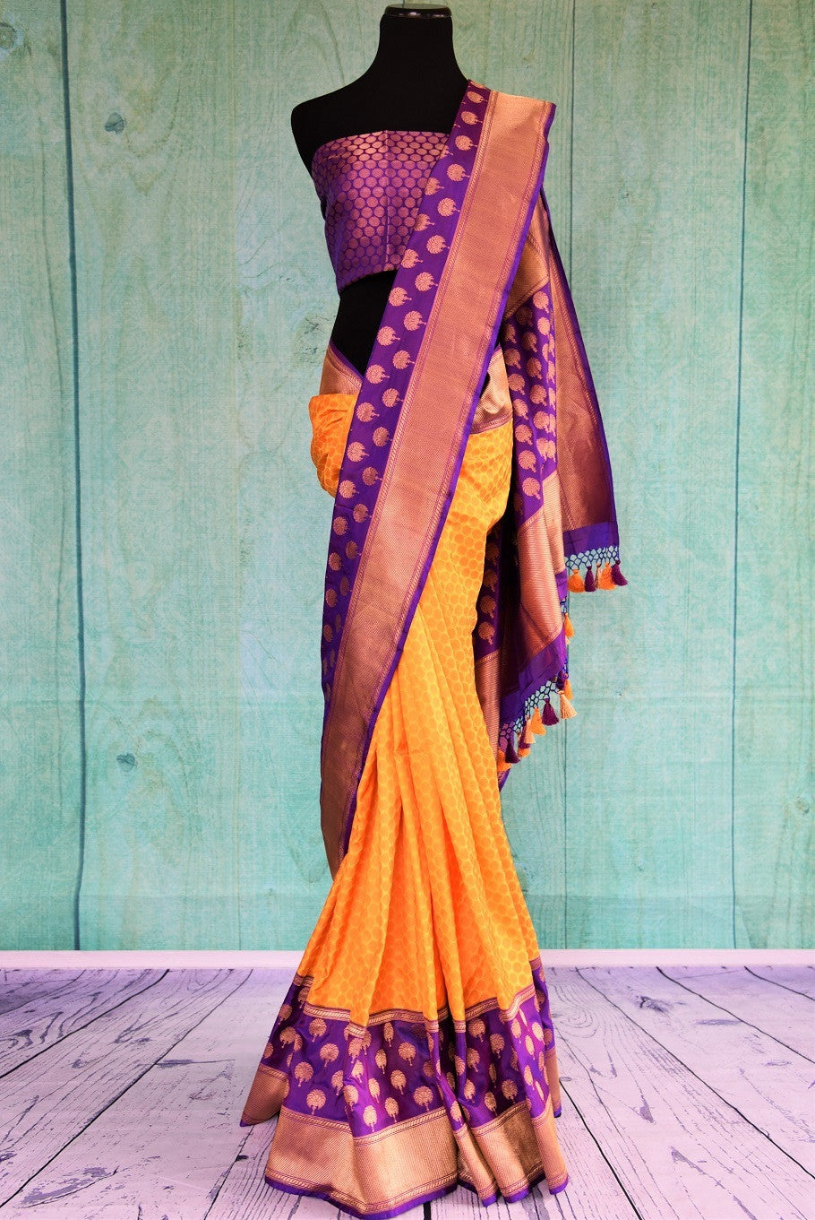 90C459 Yellow Benarasi Saree With Purple Border