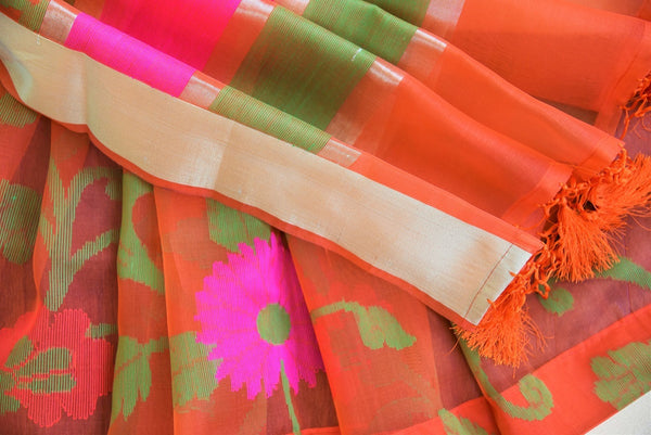 90C469 Orange Kora Benarasi Saree With Classic Floral Pattern