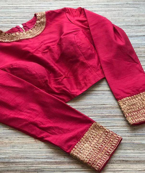 Buy red embroidered silk designer sari blouse with full sleeves online from Pure Elegance. Visit our website or store in USA for more such exquisite designer sari blouses.-Front