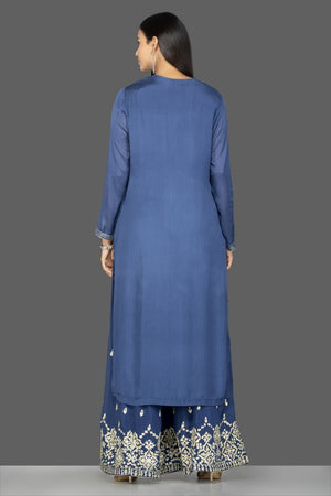 Shop beautiful blue palazzo suit online in USA with silver embroidery and dupatta. Flaunt ethnic fashion on weddings and festive occasions with latest designer lehengas, Indian dresses, traditional Anarkali suits from Pure Elegance Indian clothing store in USA.-back