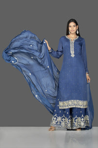 Shop beautiful blue palazzo suit online in USA with silver embroidery and dupatta. Flaunt ethnic fashion on weddings and festive occasions with latest designer lehengas, Indian dresses, traditional Anarkali suits from Pure Elegance Indian clothing store in USA.-full view