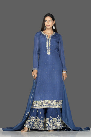 Shop beautiful blue palazzo suit online in USA with silver embroidery and dupatta. Flaunt ethnic fashion on weddings and festive occasions with latest designer lehengas, Indian dresses, traditional Anarkali suits from Pure Elegance Indian clothing store in USA.-front