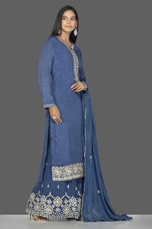 Shop beautiful blue palazzo suit online in USA with silver embroidery and dupatta. Flaunt ethnic fashion on weddings and festive occasions with latest designer lehengas, Indian dresses, traditional Anarkali suits from Pure Elegance Indian clothing store in USA.-side