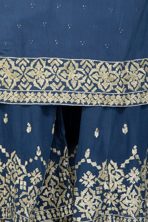 Shop beautiful blue palazzo suit online in USA with silver embroidery and dupatta. Flaunt ethnic fashion on weddings and festive occasions with latest designer lehengas, Indian dresses, traditional Anarkali suits from Pure Elegance Indian clothing store in USA.-embroidery