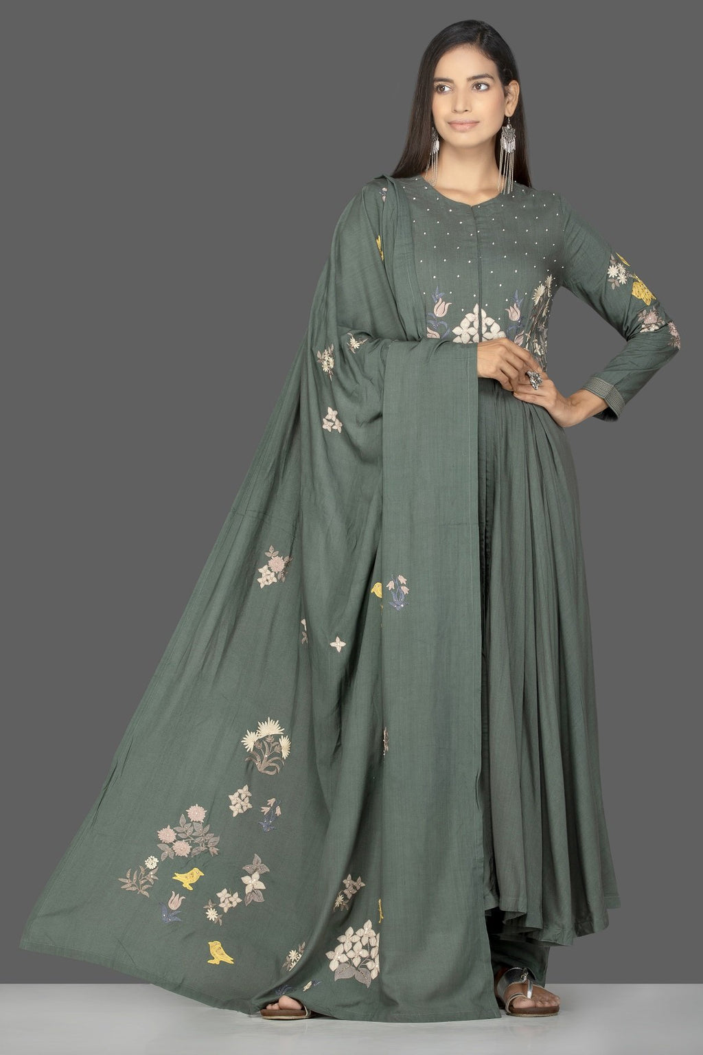 Buy lovely green embroidered Anarkali suit with palazzo online in USA. Flaunt ethnic fashion on weddings and festive occasions with latest designer lehengas, Indian dresses, traditional Anarkali suits from Pure Elegance Indian clothing store in USA.-full view
