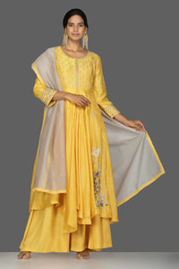 Buy beautiful yellow embroidered Anarkali suit online in USA with palazzo and grey dupatta. Flaunt ethnic fashion on weddings and festive occasions with latest designer lehengas, Indian dresses, traditional Anarkali suits from Pure Elegance Indian clothing store in USA.-full view