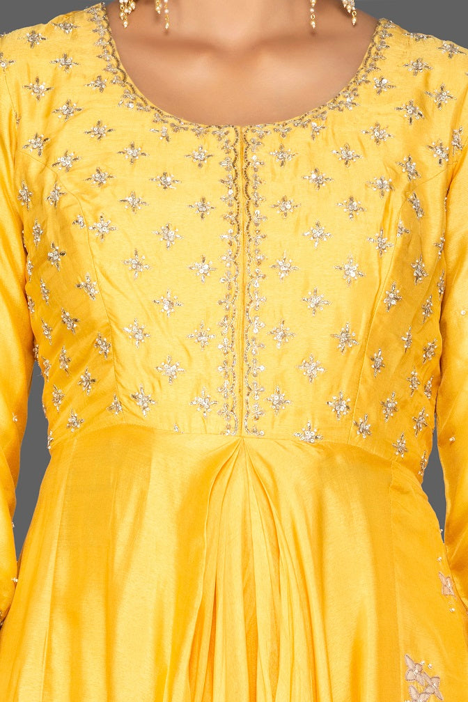 Buy beautiful yellow embroidered Anarkali suit online in USA with palazzo and grey dupatta. Flaunt ethnic fashion on weddings and festive occasions with latest designer lehengas, Indian dresses, traditional Anarkali suits from Pure Elegance Indian clothing store in USA.-neckline