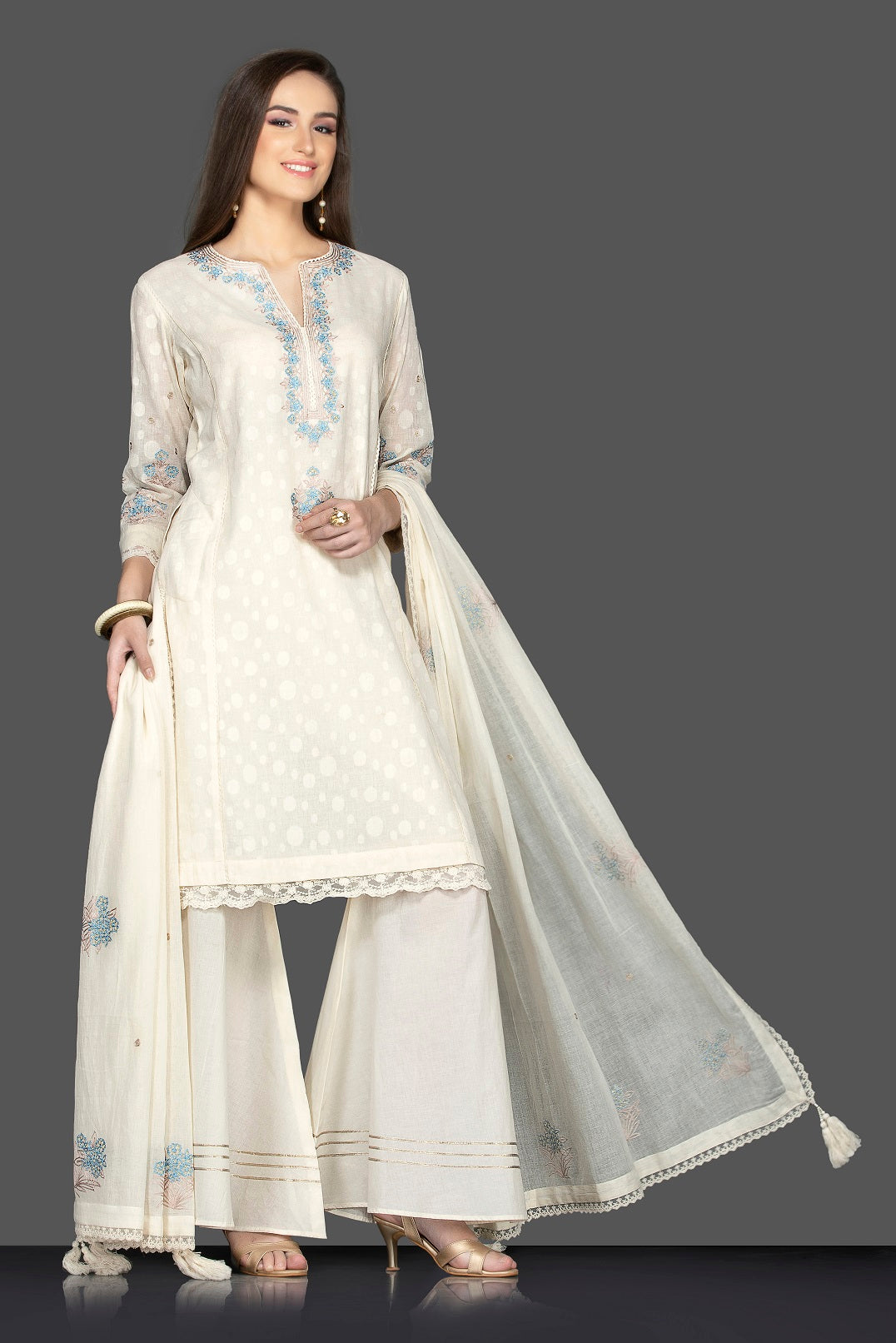 Buy elegant white embroidered palazzo suit online in USA with matching dupatta. Flaunt ethnic fashion on weddings and festive occasions with latest designer lehengas, Indian dresses, traditional Anarkali suits from Pure Elegance Indian clothing store in USA.-side