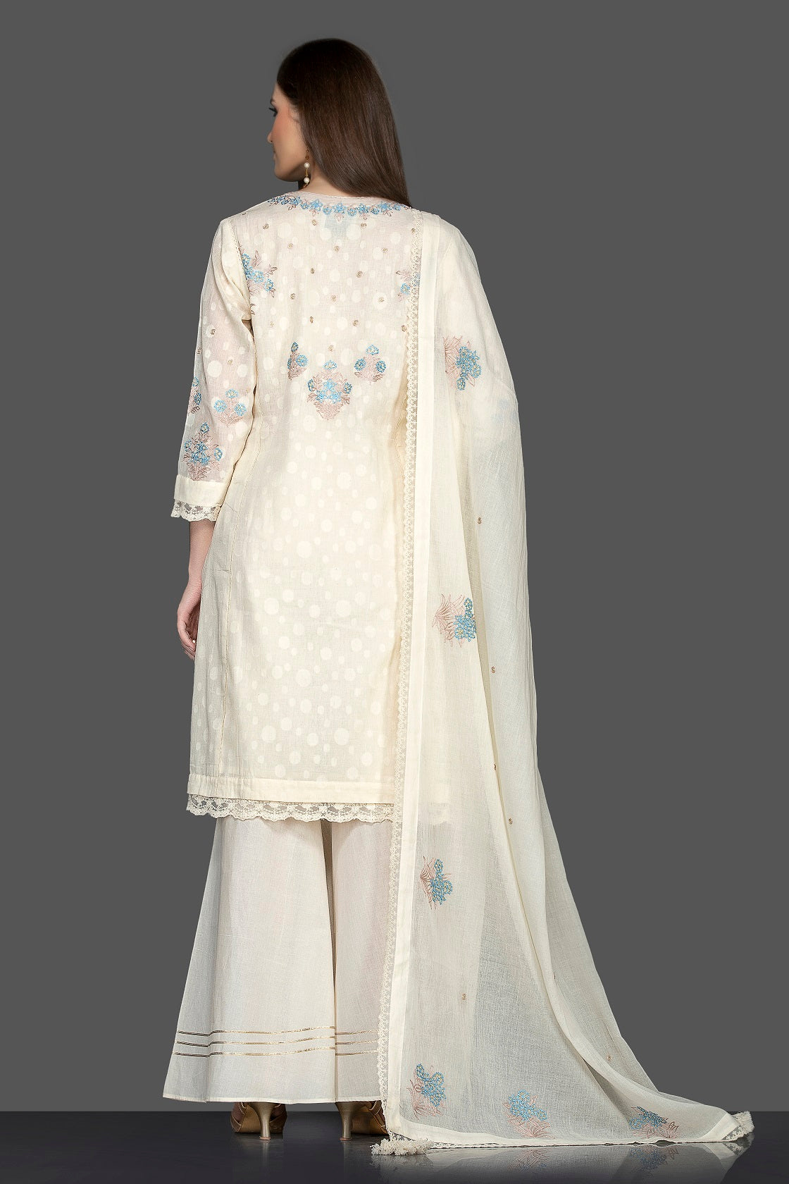 Buy elegant white embroidered palazzo suit online in USA with matching dupatta. Flaunt ethnic fashion on weddings and festive occasions with latest designer lehengas, Indian dresses, traditional Anarkali suits from Pure Elegance Indian clothing store in USA.-back