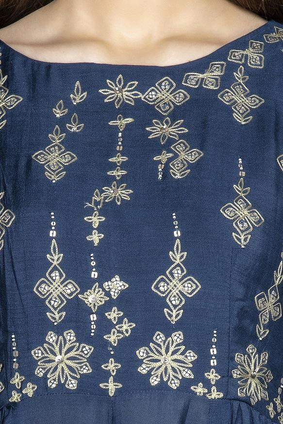 Buy lovely dark blue embroidered suit online in USA with palazzo and cream dupatta. Flaunt ethnic fashion on weddings and festive occasions with latest designer lehengas, Indian dresses, traditional Anarkali suits from Pure Elegance Indian clothing store in USA.-neckline