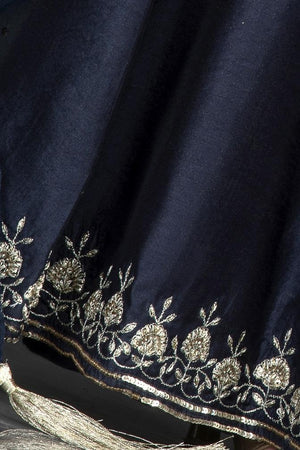 Buy stunning navy blue embroidered sharara suit online in USA with dupatta. Flaunt ethnic fashion on weddings and festive occasions with latest designer lehengas, Indian dresses, traditional Anarkali suits from Pure Elegance Indian clothing store in USA.-embroidery