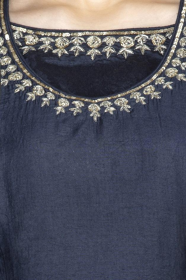 Buy stunning navy blue embroidered sharara suit online in USA with dupatta. Flaunt ethnic fashion on weddings and festive occasions with latest designer lehengas, Indian dresses, traditional Anarkali suits from Pure Elegance Indian clothing store in USA.-neckline