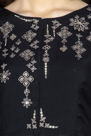 Shop ravishing black embroidered suit online in USA with matching palazzo and dupatta. Flaunt ethnic fashion on weddings and festive occasions with latest designer lehengas, Indian dresses, traditional Anarkali suits from Pure Elegance Indian clothing store in USA.-neckline