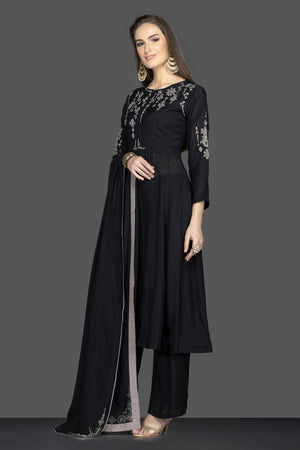 Shop ravishing black embroidered suit online in USA with matching palazzo and dupatta. Flaunt ethnic fashion on weddings and festive occasions with latest designer lehengas, Indian dresses, traditional Anarkali suits from Pure Elegance Indian clothing store in USA.-side