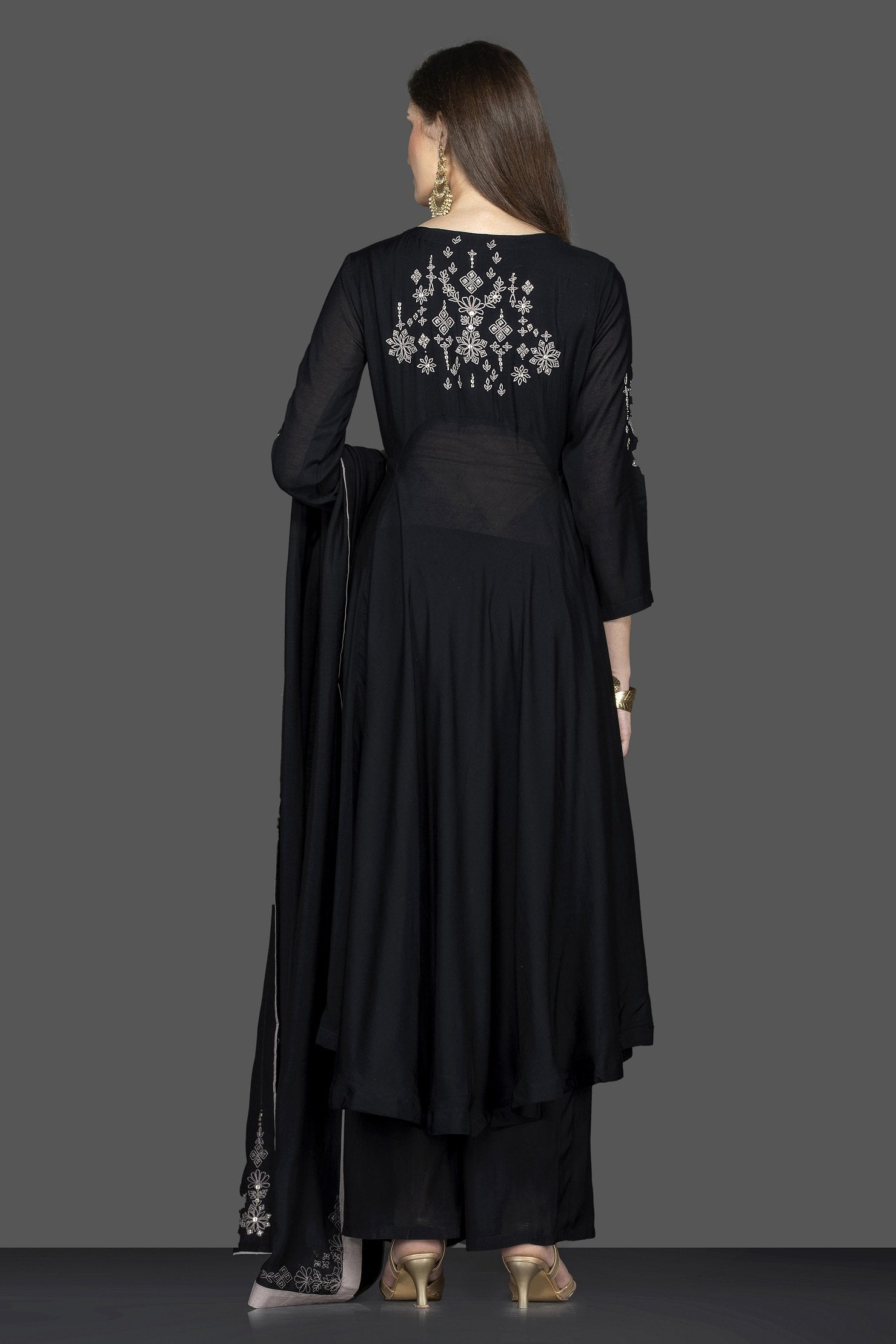 Shop ravishing black embroidered suit online in USA with matching palazzo and dupatta. Flaunt ethnic fashion on weddings and festive occasions with latest designer lehengas, Indian dresses, traditional Anarkali suits from Pure Elegance Indian clothing store in USA.-back