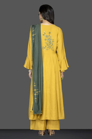 Buy bright and beautiful mustard flared sleeves embroidered suit online in USA with green dupatta. Flaunt ethnic fashion on weddings and festive occasions with latest designer lehengas, Indian dresses, traditional salwar suits from Pure Elegance Indian clothing store in USA.-back