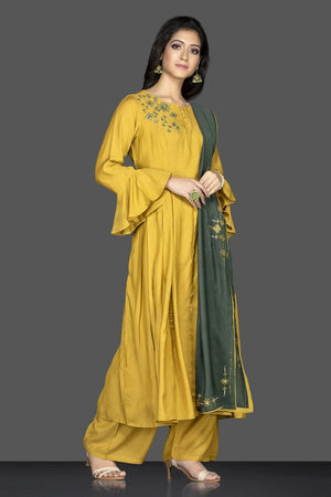 Buy bright and beautiful mustard flared sleeves embroidered suit online in USA with green dupatta. Flaunt ethnic fashion on weddings and festive occasions with latest designer lehengas, Indian dresses, traditional salwar suits from Pure Elegance Indian clothing store in USA.-side